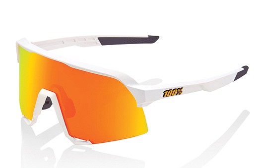 100% S3 Hiper Mirror Lens Sport-Sonnenbrille Soft Tact Off White HiPER Red